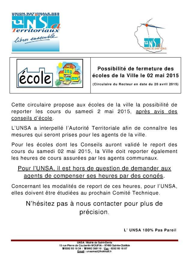 fermeture des écoles 2015-1