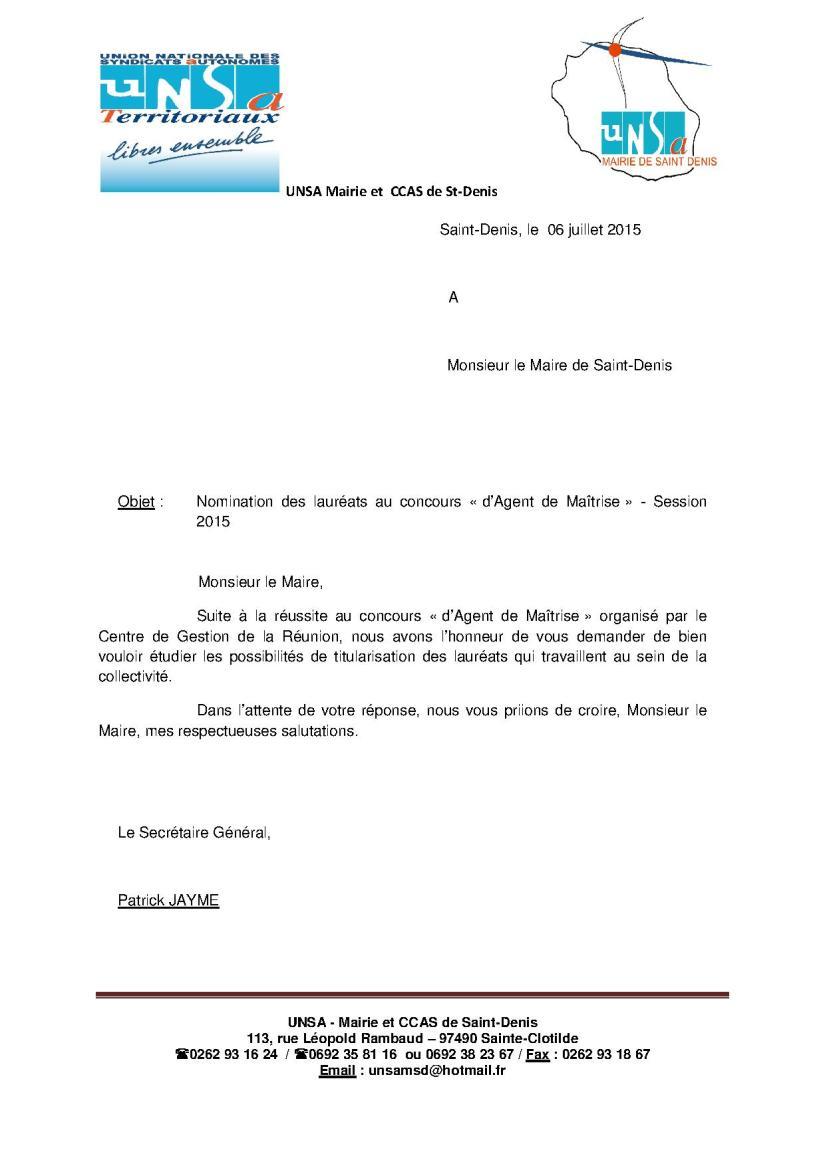 nomination lauréats agents de maîtrise 2015