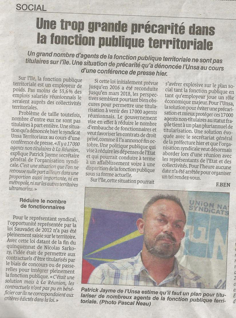 article quotidien unsa